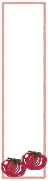 バナー広告のwebデザイン素材:大人可愛いトマトとピンクの枠の飾り枠(フレーム)のイラストのフリー素材(160×600pix)