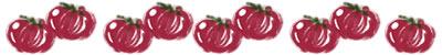 ネットショップ、webデザインの飾り罫のフリー素材:大人可愛いトマトいっぱいのイラストの飾り罫