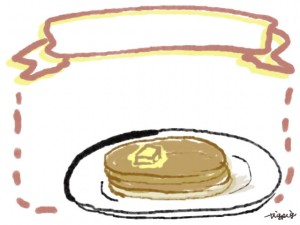webデザイン、バナー広告、ネットショップのフリー素材:大人可愛い二枚重ねのホットケーキのイラスト(640×480pix)