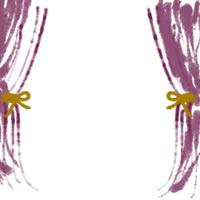 バナー広告、アイコン(twitter,mixi)、web制作、ネットショップ運営のwebデザイン素材:ガーリーな紫のカーテンのフレーム(200×200pix)