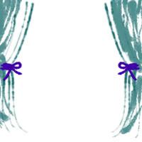 バナー広告、アイコン(twitter,mixi)、web制作、ネットショップ運営のwebデザイン素材:ガーリーな青緑のカーテンのフレーム(200×200pix)