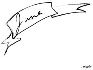 webデザイン、バナー広告、ネットショップのフリー素材:大人可愛いモノクロのJune(6月)の手書き文字とガーリーなリボンのフレーム(640×480pix)