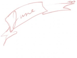web制作、ネットショップのwebデザイン素材:大人可愛いピンクのJune(6月)の手書き文字とガーリーなリボンのフレームのフリー素材(640×480pix)
