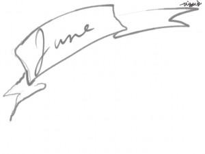 web制作、ネットショップのwebデザイン素材:大人可愛いグレーのJune(6月)の手書き文字とガーリーなリボンのフレームのフリー素材(640×480pix)