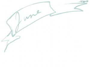 web制作、ネットショップのwebデザイン素材:大人可愛いパステルブルーのJune(6月)の手書き文字とガーリーなリボンのフレームのフリー素材(640×480pix)