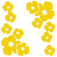 バナー制作、ネットショップ、web制作のフリー素材:大人可愛い黄色の南国風の花いっぱいのフレームのフリー素材(200×200pix)
