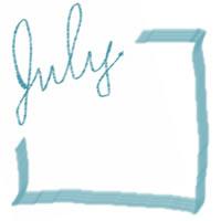 ネットショップ、バナー広告のアイコン(twitter,mixi)、webデザイン素材:大人可愛いパステルブルーの手描き文字「july」(7月)とブルーのラインの囲み枠(200×200pix)