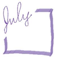 ネットショップ、バナー広告のアイコン(twitter,mixi)、webデザイン素材:大人可愛いくすんだ紫の手描き文字「july」(7月)とブルーのラインの囲み枠(200×200pix)