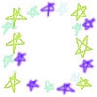 ネットショップ、バナー広告のアイコン(twitter,mixi)、webデザイン素材:ポップでガーリーな黄緑、水色、青の手描きの星のフレーム(200×200pix)