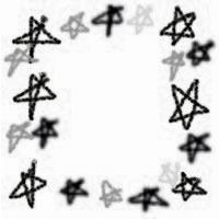 ネットショップ、バナー広告のアイコン(twitter,mixi)、webデザイン素材:ポップでガーリーなモノクロの手描きの星のフレーム(200×200pix)