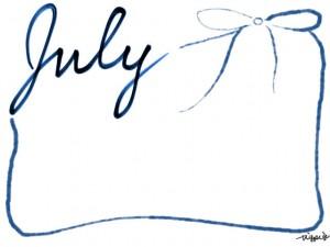 バナー広告、webデザイン素材:フレーム・飾り枠:640×480pix;和風デザインの手書き文字「July」とガーリーなブルーブラックのリボンの飾り枠の大人かわいいフリー素材