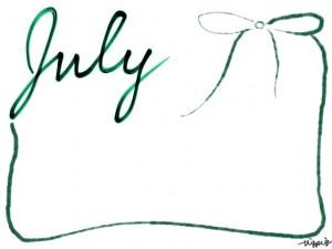 バナー広告、webデザイン素材:フレーム・飾り枠:640×480pix;和風デザインの手書き文字「July」とガーリーなくすんだ緑色のリボンの飾り枠の大人かわいいフリー素材