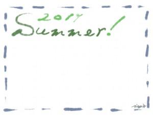 フリー素材:フレーム・飾り枠:640×480pix;大人かわいいくすんだ青のステッチ(破線)とうぐいす色(緑)の2011とSummerの手描き文字の飾り枠のwebデザイン素材