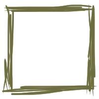 大人かわいい抹茶色のラフなラインのフレーム素材