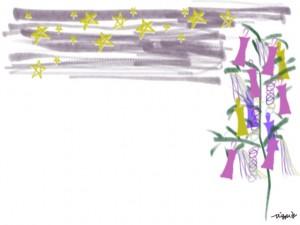 ネットショップ、バナー広告、webデザインのフリー素材:七夕の笹飾りと星いっぱいの夏の夜のイラスト(640×480pix)