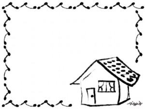 エコ、節電、夏のwebデザインのフリー素材:毛筆風のガーリーでかわいい家とポンポンの飾り枠(フレーム)