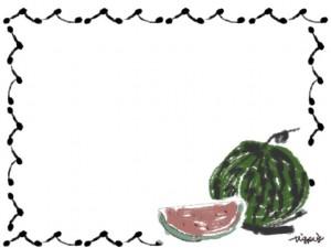 夏のネットショップ、バナー広告、webデザインのフリー素材:大人かわいい西瓜(スイカ)と手描きのガーリーなフレーム(枠)(フレーム)