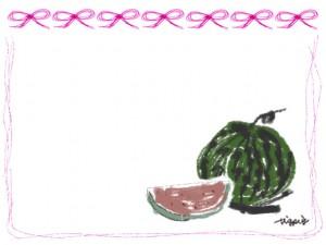 夏のwebデザインのフリー素材:ガーリーなスイカとピンクのリボンいっぱいのフレーム(囲み枠)のイラスト
