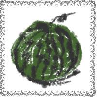 アイコン(twitter,mixi,ブログ)のフリー素材:和風のスイカとガーリーなレースの飾り枠の夏の季節のwebデザイン素材