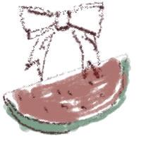 アイコン(twitter,mixi,ブログ)のフリー素材:リボンとカットスイカのイラストのガーリーな夏の季節のwebデザイン素材