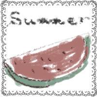 アイコン(twitter,mixi,ブログ)のフリー素材:和風のカットカットスイカのイラストとsummerの手書き文字とレースの飾り枠のガーリーな夏の季節のwebデザイン素材