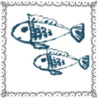 夏のアイコン(twitter,mixi,ブログ)制作のwebデザイン素材:ガーリーなお魚(2匹)と大人可愛いレースの飾り枠のフリー素材
