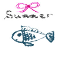 夏のアイコン(twitter,mixi,ブログ)制作のwebデザイン素材:ガーリーなsummerの手書き文字と大人可愛いブルーの魚とピンクのリボンのフリー素材