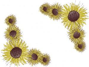 バナー広告、アイコンの花のwebデザイン素材:ヒマワリの花の縁飾りのガーリーなイラストのネットショップ制作のフリー素材