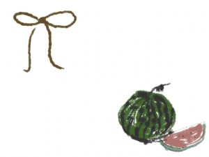 フリー素材:夏のイラストのフレーム;大人かわいい西瓜と抹茶色のリボンのwebデザイン素材