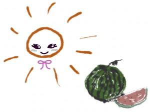 ネットショップ、バナー広告、webデザインのフリー素材:大人可愛い太陽とすいかのイラスト