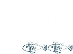ネットショップ、webデザインのフリー素材:フレーム・飾り枠:640×480pix;大人可愛いブルーの魚(2匹)のイラスト