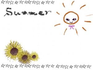 ネットショップ、webデザインの飾り枠のフリー素材:ガーリーな太陽と手書き文字Summerと星いっぱいのフレーム