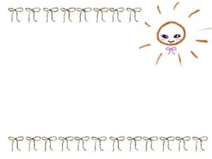 夏のネットショップ、webデザインのフリー素材:ガーリーな太陽と抹茶色のリボンいっぱいの飾り枠。大人かわいいフレームのwebデザイン素材