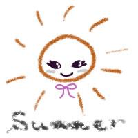 夏のアイコン(twitter,mixi,ブログ)のフリー素材:大人可愛い太陽とsummerの手書き文字のイラストのガーリーなwebデザイン素材