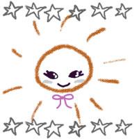 夏のガーリーなアイコンのフリー素材:大人かわいい太陽と手書きの星いっぱいのwebデザイン素材