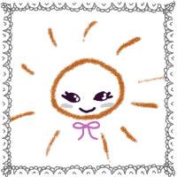 夏のアイコン(twitter,mixi,ブログ)制作のwebデザイン素材:ガーリーなレースの飾り枠(フレーム)の太陽のフリー素材