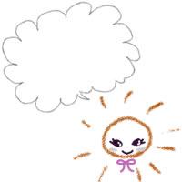 夏のアイコン(twitter,mixi,ブログ)制作のフリー素材:ガーリーな太陽とふわふわのフキダシのwebデザイン素材