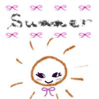 アイコン(twitter,mixi,ブログ)のイラスト素材:ピンクのりぼんとsummerの手書き文字と太陽のフリーイラストのガーリーなwebデザイン素材