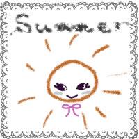 アイコン(twitter,mixi,ブログ)のwebデザイン素材:かわいいレースsummerの手書き文字と太陽のイラスト