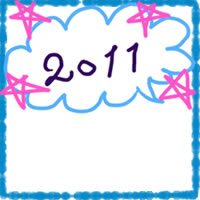 夏のアイコン(twitter,mixi,ブログ)のフリー素材:ガーリーなブルーとピンクのクレヨン風のラインと星と2011も手書き文字と吹出しのwebデザイン素材