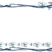 フリー素材:フレーム;シンプルで大人可愛いラフなラインと青い魚がかわいいのイラストの飾り枠(フレーム)640×480pix