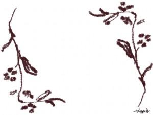 フリー素材:フレーム;シンプルな茶色の枝と葉と小さな実の無料イラストのwebデザイン素材