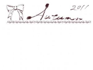 フリー素材:フレーム;2011Autumnの手書き文字とリボンとガーリーなラインの飾り罫。webデザイン、ホームページ制作の秋のイラスト
