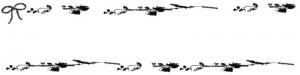 フリー素材:秋のヘッダー;大人かわいいモノクロのりぼんと枝と葉と小さな実の北欧風イラストの飾り罫(800×200pix)