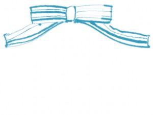 フリー素材:フレーム;シンプルでガーリーなパステルブルーのシマシマのりぼんのwebデザイン制作のイラスト