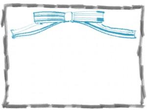 フリー素材:フレーム;ガーリーで大人可愛いパステルブルーのストライプのりぼんとモノクロの鉛筆風のラフな飾り枠(640×480pix)