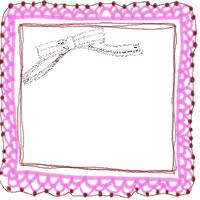 アイコン(twitter,mixi,ブログ)のフリー素材:ピンクのレースの飾り枠と茶色のストライプのリボンのガーリーなイラストのwebデザイン素材
