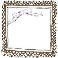 フリー素材:アイコン(twitter,mixi,ブログ)の無料イラスト;大人可愛い茶色のリボンとレースの飾り枠のガーリーなwebデザイン素材