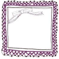 バナー広告、アイコン制作のフリー素材:大人かわいい紫のレースとリボンのフレーム(飾り枠)