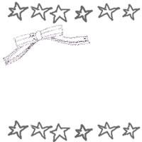 バナー、アイコンのフリー素材:大人かわいいモノクロのリボンと星いっぱいの飾り罫のイラストのフレーム(飾り枠)